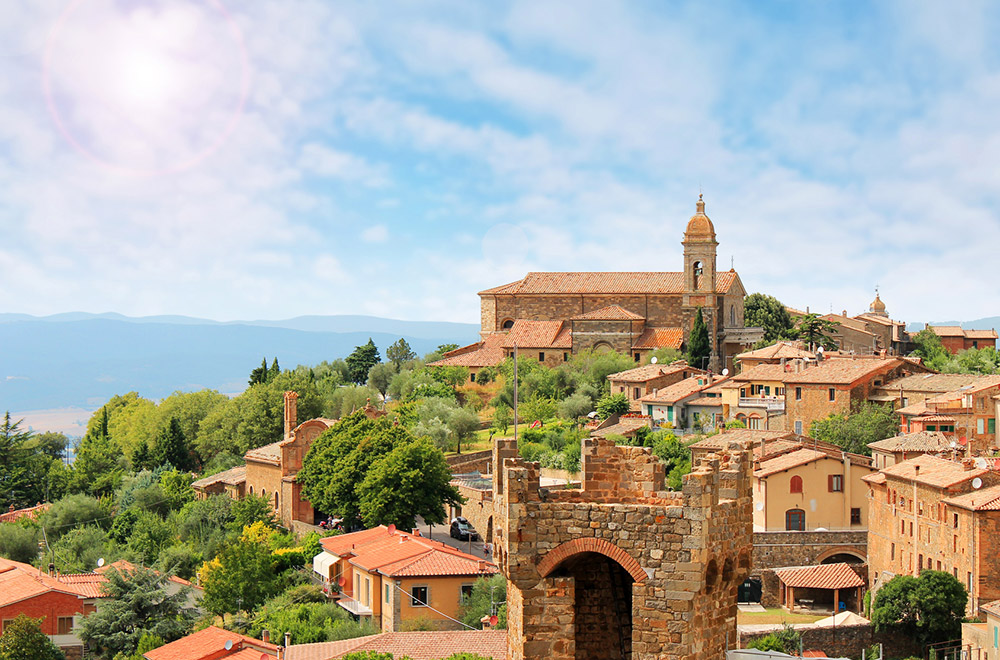 Montalcino: a typical medieval town with its noble San Giovese vineyards